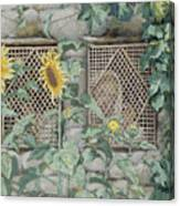 Jesus Looking Through A Lattice With Sunflowers Canvas Print