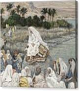 Jesus Preaching By The Seashore Canvas Print