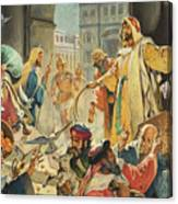Jesus Removing The Money Lenders From The Temple Canvas Print