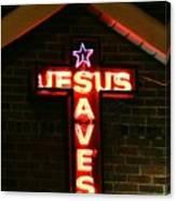Jesus Saves In Neon Lights Canvas Print