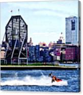 Jet Skiing By Colgate Clock Canvas Print