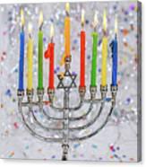 Jewish Holiday Hannukah Symbols - Menorah Canvas Print