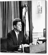 Jfk Addresses The Nation Painting Canvas Print