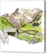 High Pastures,   Col De La Cayolle Canvas Print