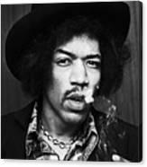 Jimi Hendrix Smoking 1968 Canvas Print