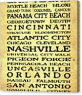 Jimmy Buffett Margaritaville Locations Black Font On Yellow Brown Texture Canvas Print