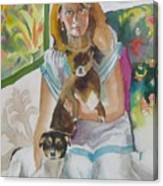 Joann And Her Pets Canvas Print