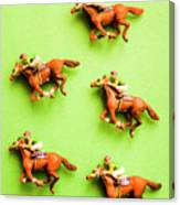 Jockeys And Horses Canvas Print