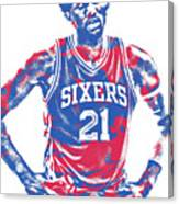 Joel Embiid Philadelphia Sixers Pixel Art 10 Canvas Print