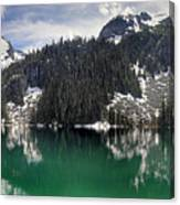 Joffre Lake Middle Panorama B.c Canada Canvas Print