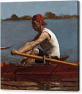 John Biglin In A Single Scull Canvas Print