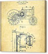 John Deere Tractor Patent Drawing From 1934 - Vintage Canvas Print