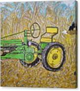 John Deere Tractor And The Scarecrow Canvas Print