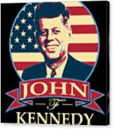 John F Kennedy American Banner Pop Art Canvas Print