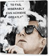 John F Kennedy Cigar And Sunglasses 3 And Quote Canvas Print