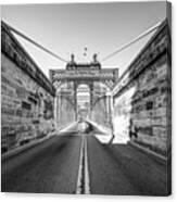 John Roebling Bridge Entrance - Cincinnati Ohio Black And White Canvas Print