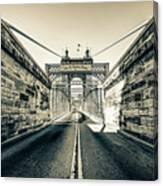 John Roebling Bridge Entrance - Cincinnati Ohio Sepia Print Canvas Print