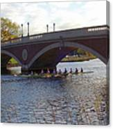 John Weeks Bridge Harvard Square Chales River Sunset Rowers Canvas Print