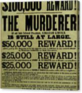 John Wilkes Booth Wanted Poster Canvas Print