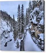 Johnston Canyon Winter Boardwalk Canvas Print