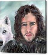 Jon Snow And Ghost Canvas Print