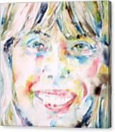 Joni Mitchell - Watercolor Portrait Canvas Print