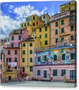 Joy In Colorful House In Piazza Di Riomaggiore, Cinque Terre, Italy Canvas Print