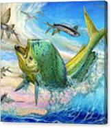 Jumping Mahi Mahi And Flyingfish Canvas Print