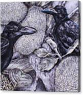 Jungle Crows On Jackfruit Canvas Print