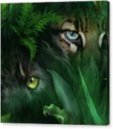 Jungle Eyes - Panther And Ocelot  Canvas Print
