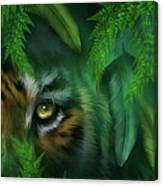 Jungle Eyes - Tiger And Panther Canvas Print