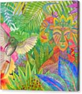 Jungle Spirits And Humming Bird Canvas Print
