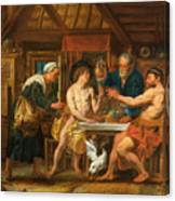 Jupiter And Mercury In The House Of Philemon And Baucis Canvas Print