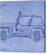 Jurassic Park Jeep Blueprint Canvas Print