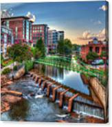 Just Before Sunset 2 Reedy River Falls Park Greenville South Carolina Art Canvas Print