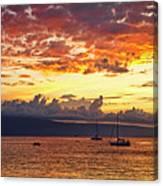 Ka'anapali Sunset Fire Canvas Print