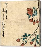 Kaido Ni Shokin - Small Bird On A Branch Of Kaidozakura Canvas Print