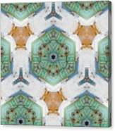 Kaleidoscope In Mint And Orange Canvas Print