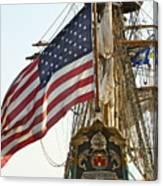Kalmar Nyckel American Flag Canvas Print