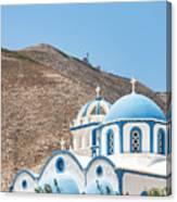 Kamari Church And Mountain Canvas Print