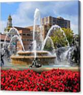 Kansas City Fountain Ablaze In Crimson Canvas Print