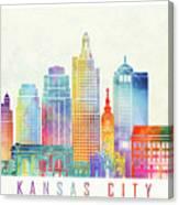 Kansas City Landmarks Watercolor Poster Canvas Print