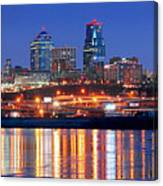 Kansas City Missouri Skyline At Night Canvas Print
