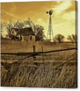 Kansas Pioneer Homestead On The Plains Canvas Print