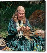 Kashia Pomo Woman Weaving Basket Canvas Print