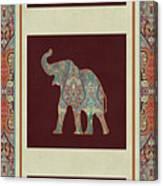 Kashmir Elephants - Vintage Style Patterned Tribal Boho Chic Art Canvas Print