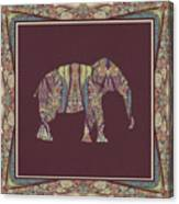 Kashmir Patterned Elephant 2 - Boho Tribal Home Decor  Canvas Print
