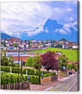 Kastelruth And Schlern Peak In Alps Landscape View Canvas Print