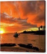 Kauai Sunset And Boat At Anchor Canvas Print