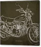 Kawasaki Motorcycle Blueprint, Mid Century Brown Art Print Canvas Print